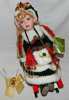 Christmas Doll On Sled Holiday Time 16 Tall X 12 Long X 6 Wide 8n