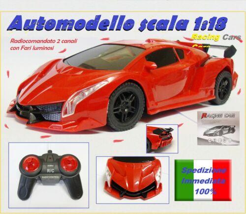 Auto scala 1//18 2WD Con Fari Luminosi Macchina Telecomandata Radiocomandata 2ch