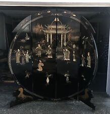 Highly Detailed Black Lacquer 4 Panel Chinese Screen Room Divider Hand Painted