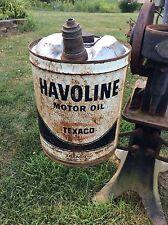 Vintage Havoline Texaco Motor Oil Five Gallon Metal Can