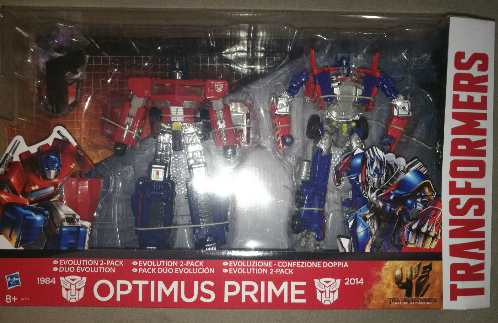 TRANSFORMERS AGE OF EXTINCTION VOYAGER CLASS EVASION + CLASSICS OPTIMUS PRIME