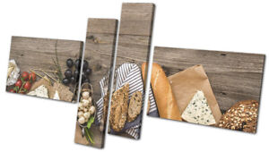 Cheese-Board-Grapes-Wood-Food-Kitchen-MULTI-CANVAS-WALL-ART-Picture-Print