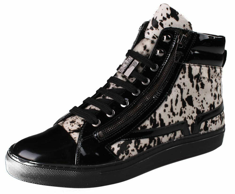 Versace Collection Black Pony Hair Patent Leather HI-Top Zip-Up Fashion Sneaker