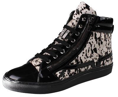 Versace Collection Black Pony Hair Patent Leather Lace Zip-Up Fashion Sneaker NW