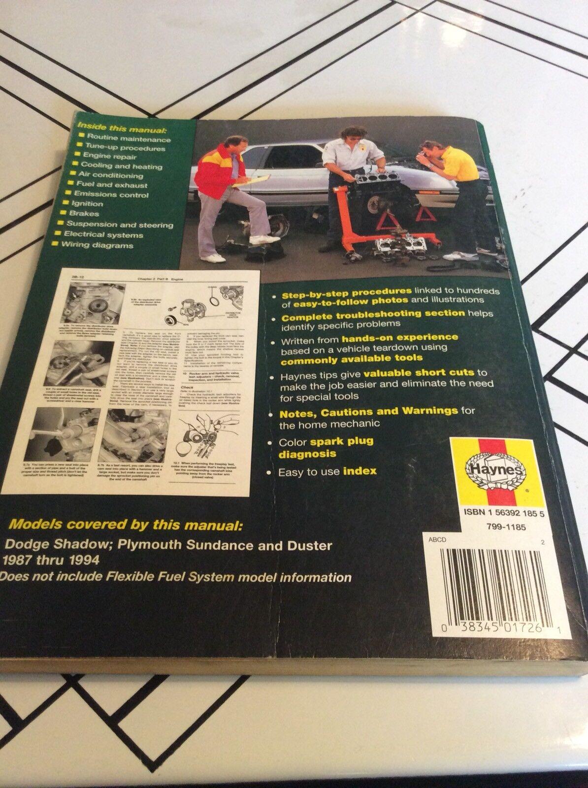 Haynes Repair Manual 30055 Dodge Shadow Plymouth Sundance Duster 1987 to  1994 | eBay