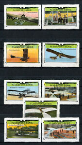 Switzerland-Stamps-1913-Over-Years-9-Value-Airplane-Set