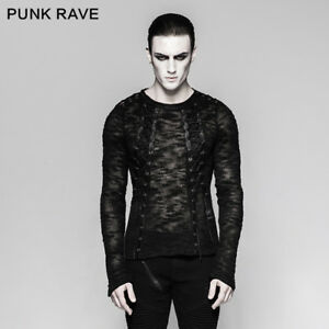 Punk-Rave-New-Design-Rock-Black-Mens-Gothic-Steampunk-Motocycle-T-shirt-Top