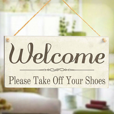 Bienvenido por favor, quítese los zapatos-Madera Signo De Regalo