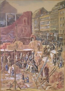 Georg-PRELLER-1888-1962-Aquarell-Wiederaufbau-LEIPZIG-Nachkriegszeit-1949