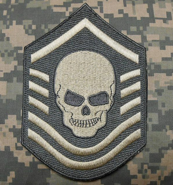 """CHEVRON SKULL US AIR FORCE ISAF BADGE ACU VELCRO® BRAND FASTENER PATCH 5"""""""