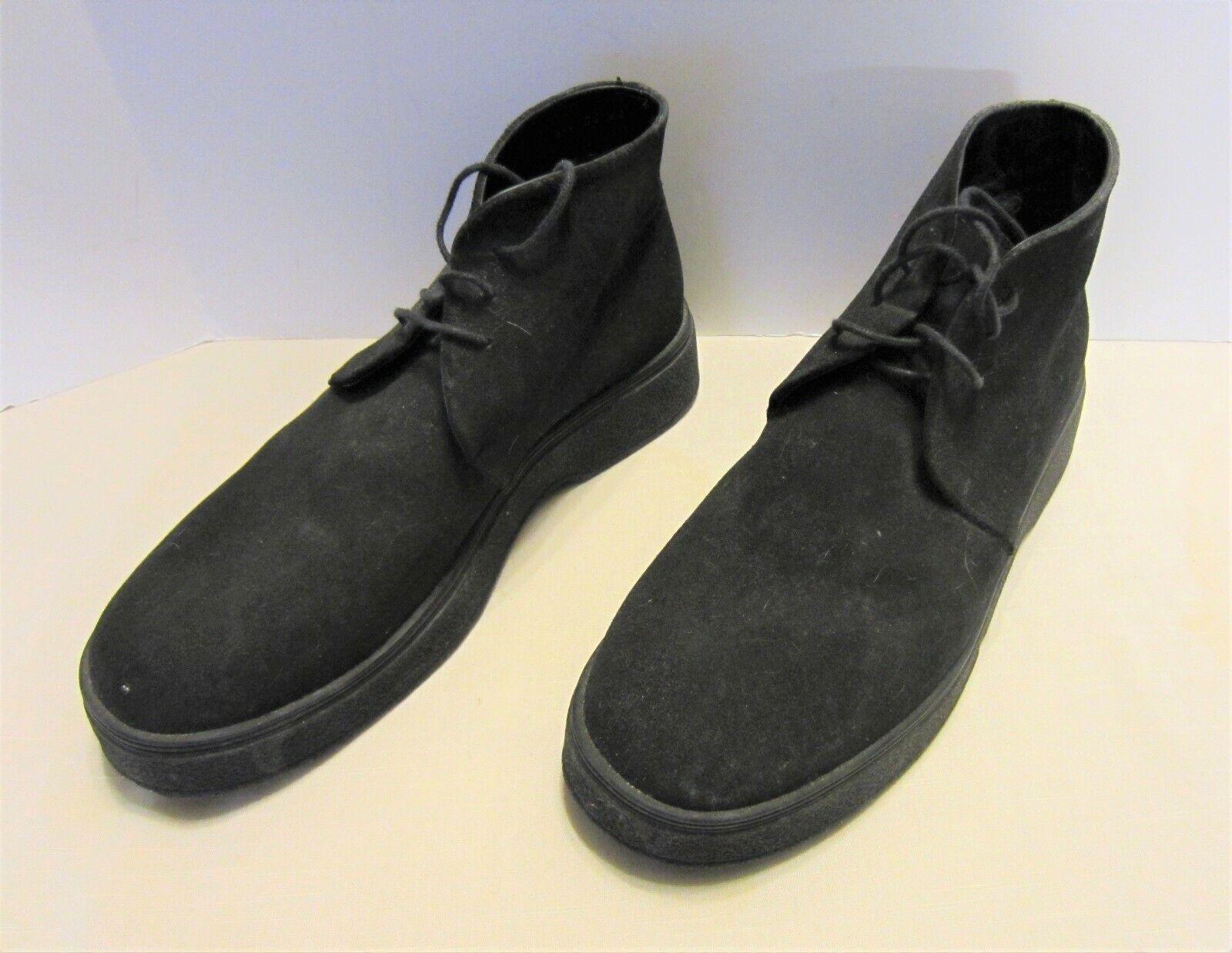 Vintage Georgio Armani Negro Cuero Chukka botas 43 UE 9 EE. UU.