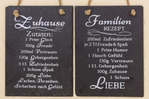 Familie Stückpreis Schild Hängeschild Wandschild Schiefer Rezept für Zuhause
