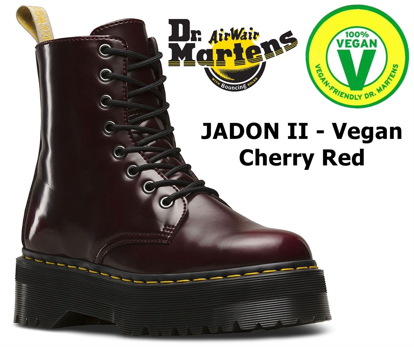 DR Martens Jadon Vegan 80 S stile QUAD QUAD QUAD Retrò Rosso Ciliegia Cambridge Pennello Zip Stivali 34366a