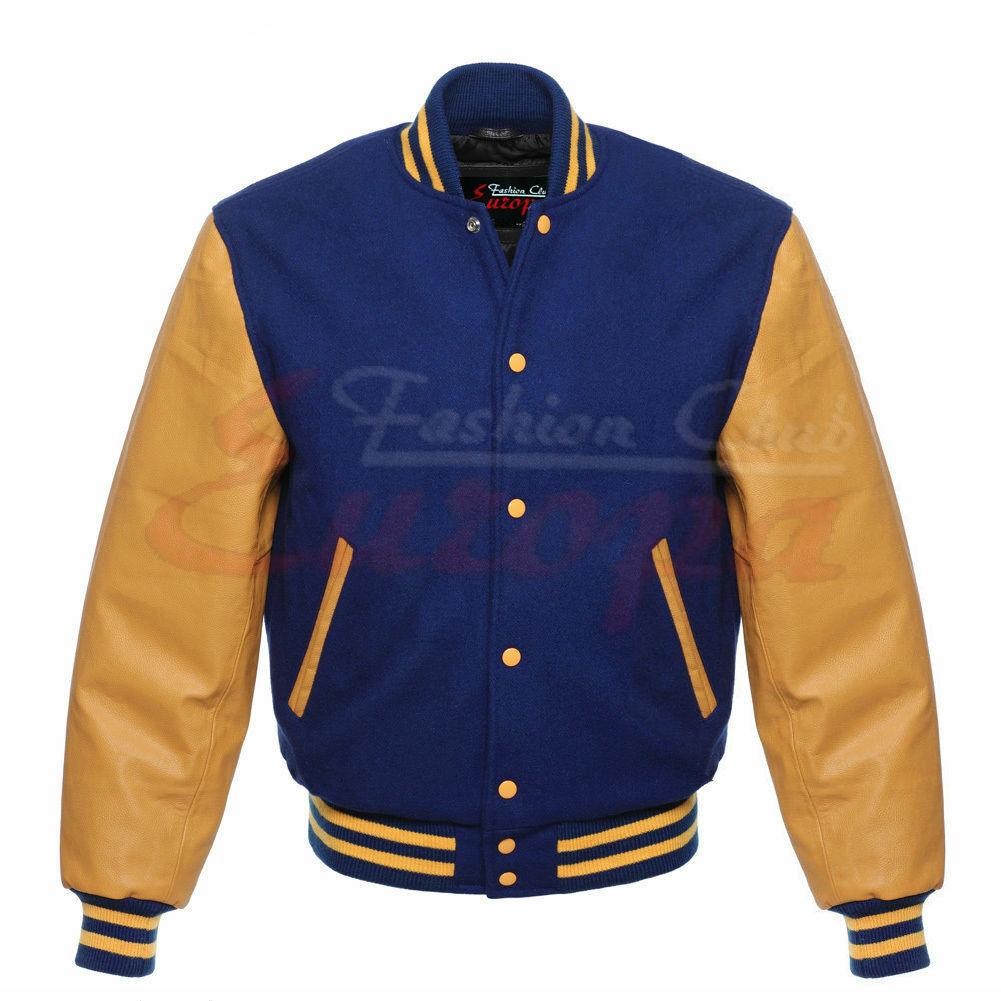 Varsity Letterman Royal Blau wollewith Genuine Gelb Gold leder Sleeves