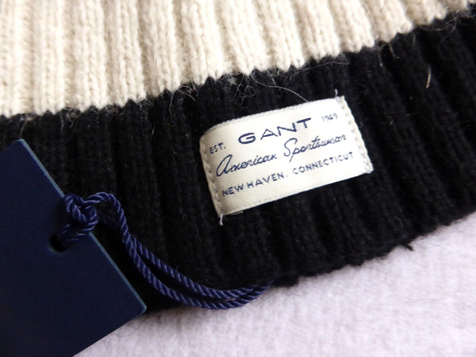 afae7265 GANT USA Black Barstripe Rib Cotton Wool Alpaca Beanie Toque Hat ...