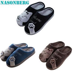 Nasonberg Mens Cute Winter Warm Slippers Cartoon Cat Shoes Soft House Indoor Ebay