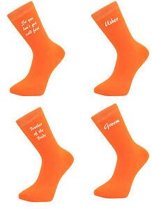 Details About Orange Script Font Luxury Cotton Rich Wedding Socks Groom Best Man Usher