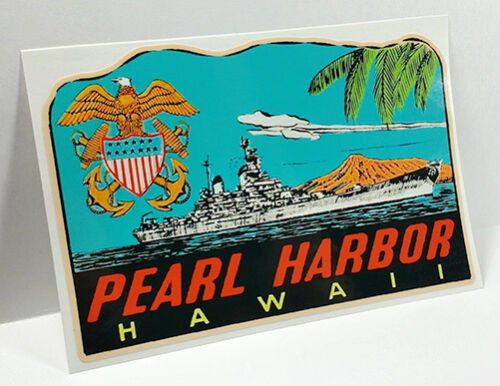 Pearl Harbor Hawaii Vintage Style Travel Decal Vinyl Sticker Luggage Label