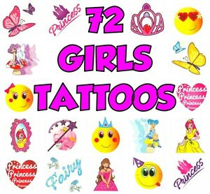 72x Kids Childrens Boys Girls Temporary Tattoos Transfers Party Loot Bag Fillers