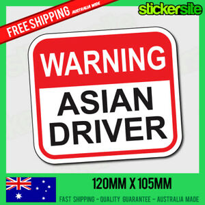 WARNING-ASIAN-DRIVER-Sticker-Decal-FUNNY-JDM-DRIFT-CAR-4x4-4WD-Sticker-JOKE