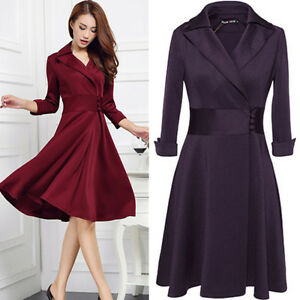 Fashion Women Winter Bodycon Coat OL Party Cocktail Evening Dress ...