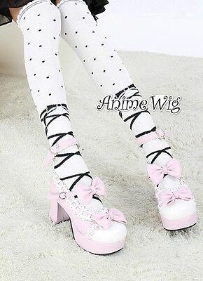 Lolita Fashion Pattern Black / White / Red Hosiery Thigh High Socks Stockings