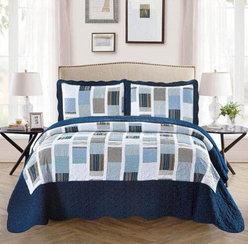 Fancy Linen Reversible Bedspread Stripes Squares Navy Blue White All Sizes New