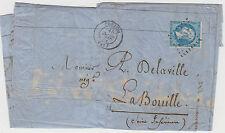 Stamp France 1867 usage of 20c blue Napoleon on document sent CONDOM locally