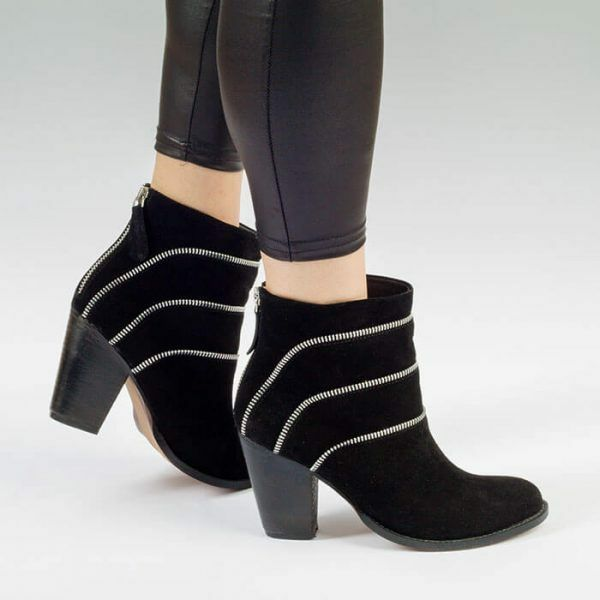 Phollie para Mujer Damas Tacón Alto Botín De Cuero Negro, tamaño de Reino Unido 3 4 5 6 7 8