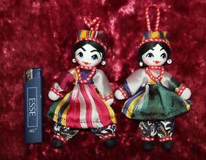 Lot-of-2-Uzbek-Dolls-in-national-dress-Collectible-Handmade-Uzbek-Girl-Woman