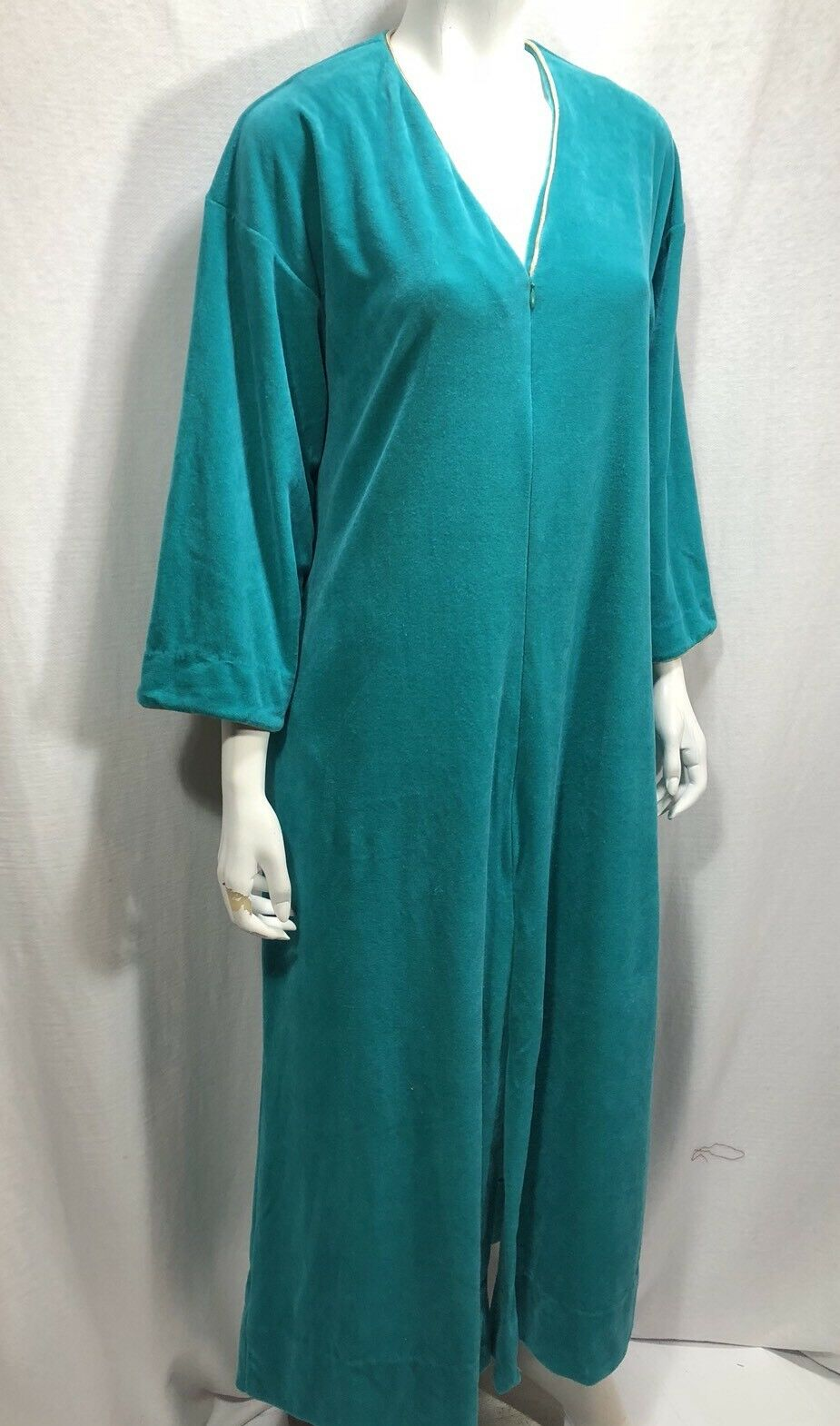 Vintage Leisure Lady gold Piping Turquoise 1 4 Zip House Coat Women S fits big