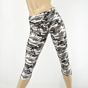 0d927f8160 Black White Camo Pants Yoga Capri Camouflage Fold Over/High Waist ...
