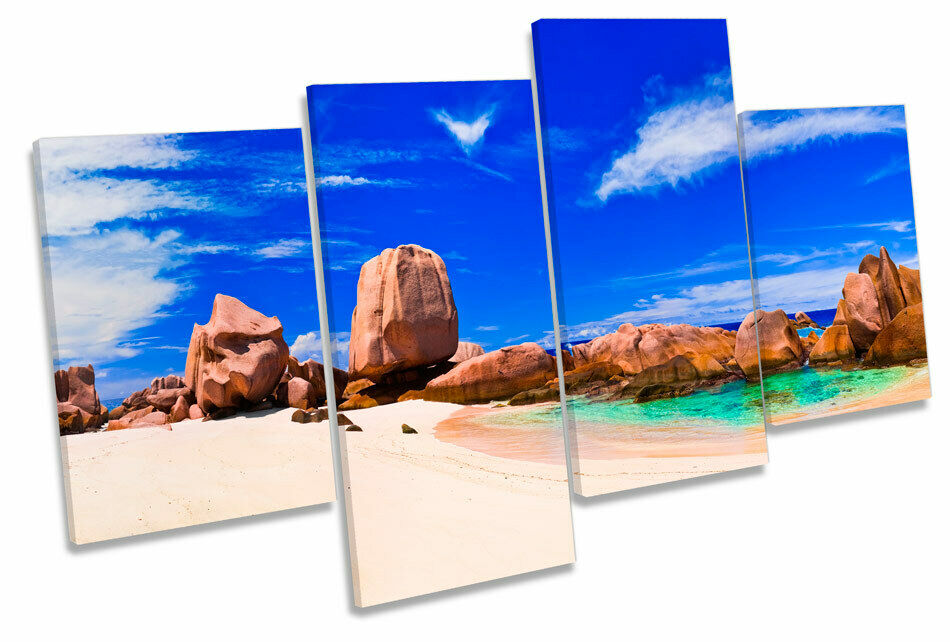 Tropical Beach Seascape MULTI CANVAS WALL ART Boxed Framed