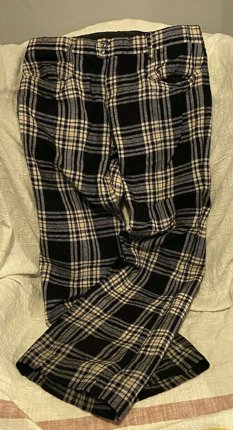 Vintage Wool Pants Black White Plaid Flare See Measurements Hand Made