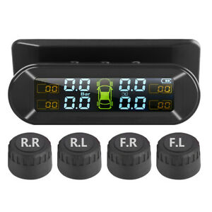 LCD-Solar-Kabellos-TPMS-Auto-Reifendruckkontrollsystem-Externe-4-Sensoren
