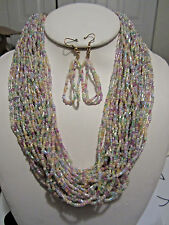 Multi Strand Multi Lt Color Glass Seed Bead Necklace Earring Set