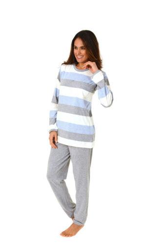 Damen Pyjama Rundhals Langarm Ringel Obertal Uni Hose Baumwolle 61465