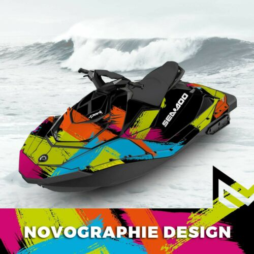 Seadoo SPARK trixx Bombardier 2up 3up Jet Ski Graphic Kit Decal Wrap colorful