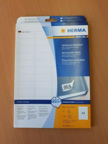 2 x HERMA Special Universal-Etiketten ablösbar 4346 45,7x21,2mm weiß 1200 Stück