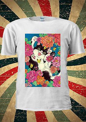 Floral Cat Cute Flowers Instagram Tumblr Fashion T Shirt Men Women Unisex 1691