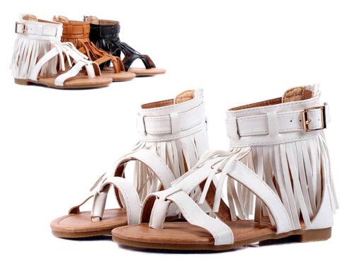 White Indian Style Fringe Kids Girls Gladiators Sandals Youth Shoes Size 4