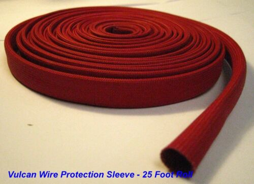 Vulcan Red Heat Protector Woven Sleeve Spark Plug Wire 10mm ID X 25ft new