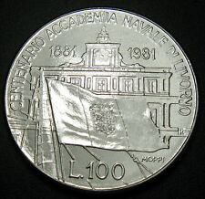 Italy 100 Lire, 1981, Centennial of Livorno Naval Academy