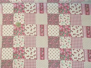 Cheap-NEW-Polycotton-Fabric-CRAFTS-PATCHWORK-CHECK-Pink-Metre-Material