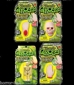 GROW-SEVERED-BODY-PARTS-Zombie-Morgue-Gag-SKELETON-HAND-SKULL-FOOT-4pc-Lot-Set