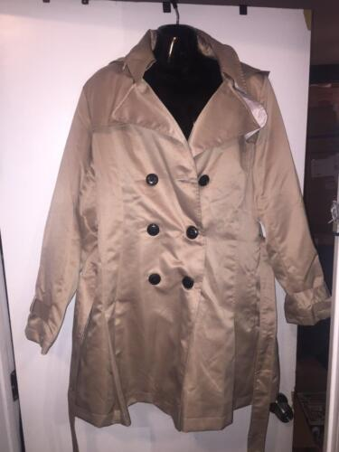 MEDIUM  NEW WITH TAGS EBZA TAN HOODED WOMENS TRENCH COAT SIZE