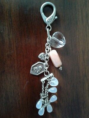 Baby Pink Valentines Hearts Keychain Love Crystal Charm Cute Gift Present 01028