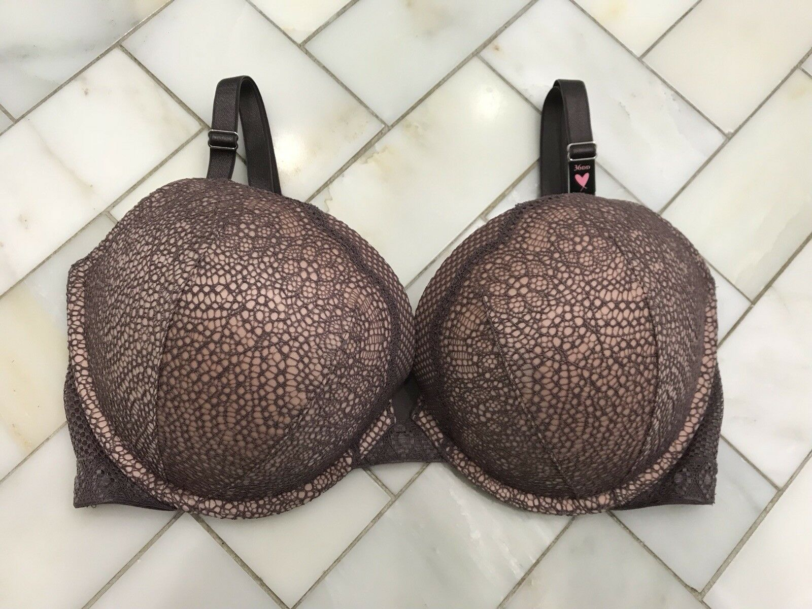 NWT Victoria's Secret Very Sexy 36DD Push Up Bra Cocoa Taupe Grey Pink Lace