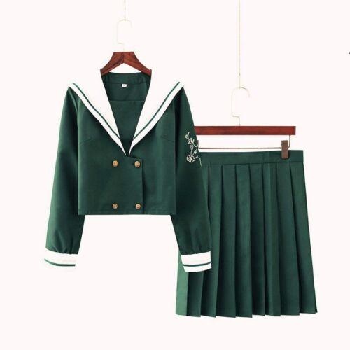 Women JK Japanese Sailor School Uniform Suit Long Sleeve Blouse Skirts Cosplay