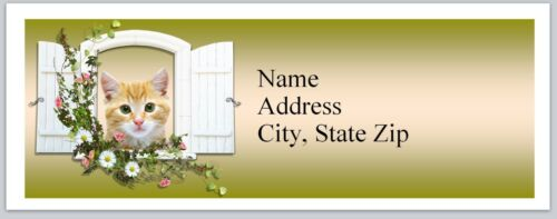 Personalized Address labels Cat looking out window Buy 3 get 1 free P 38